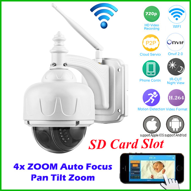 OwlCat HD 720P Outdoor Security CCTV PTZ Speed Dome Wireless IP Camera Wifi 2.8-12mm 4X Auto Focus Zoom Lens Micro SD Card Onvif