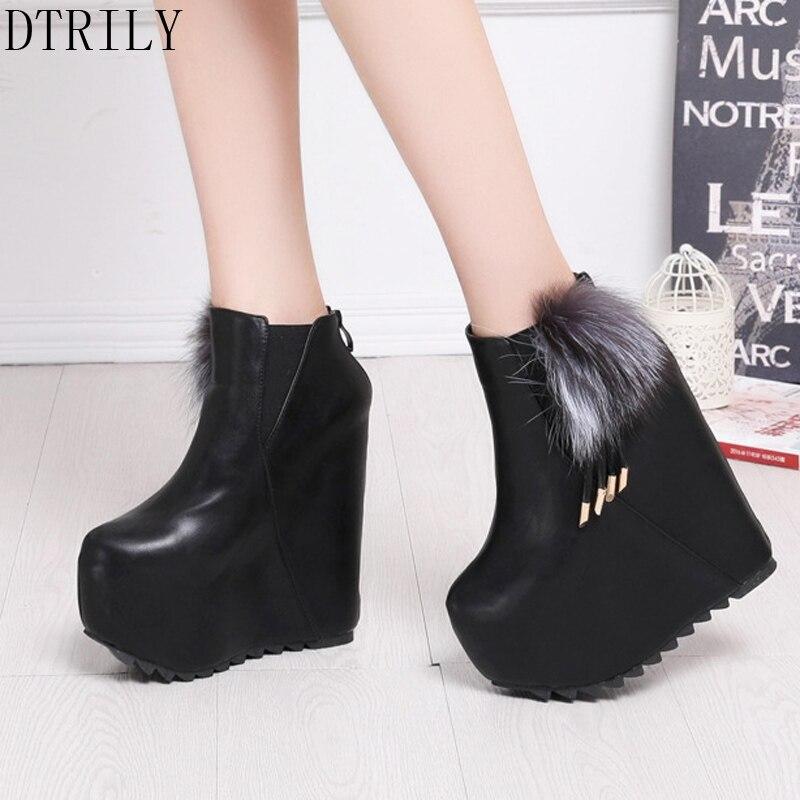 Botas Cuñas Zapatos Altura Las Plataforma Blanco De Negro