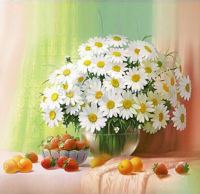 White Chrysanthemum &Fruit Full Mosaic Picture Pattern Cross Stitch Rhinestone Diy Diamond Paintings Embroidery Cross  KTL01283