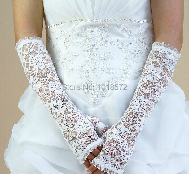 2017 New Arrival Bridal Gloves Romantic Princess Half Finger Wedding Accessories White/Ivory Stock Elegant Wedding Gloves