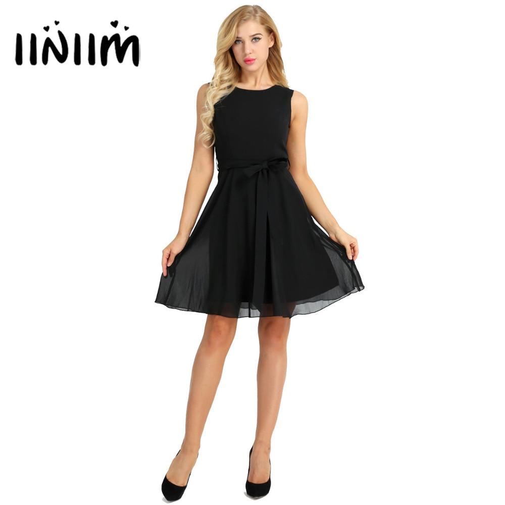 Iiniim Women Elegant Solid Sleeveless Chiffon A-Line Dress With Sash For Wedding Evening Party Formal Dress For Business Dinner
