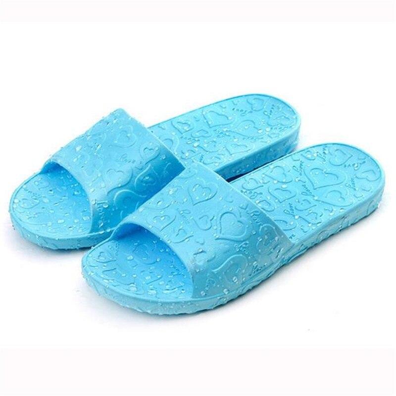 Splendid 2017 summer size 37 41 Women Antiskid Love Print Flat Bath Slippers Indoor Outdoor Slippers