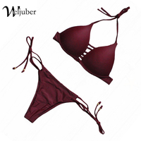 Weljuber New Swimwear Women Bandage Bikini 2017 New Sexy Brazilian Biquini Bathing Suit Push Up Swimsuit