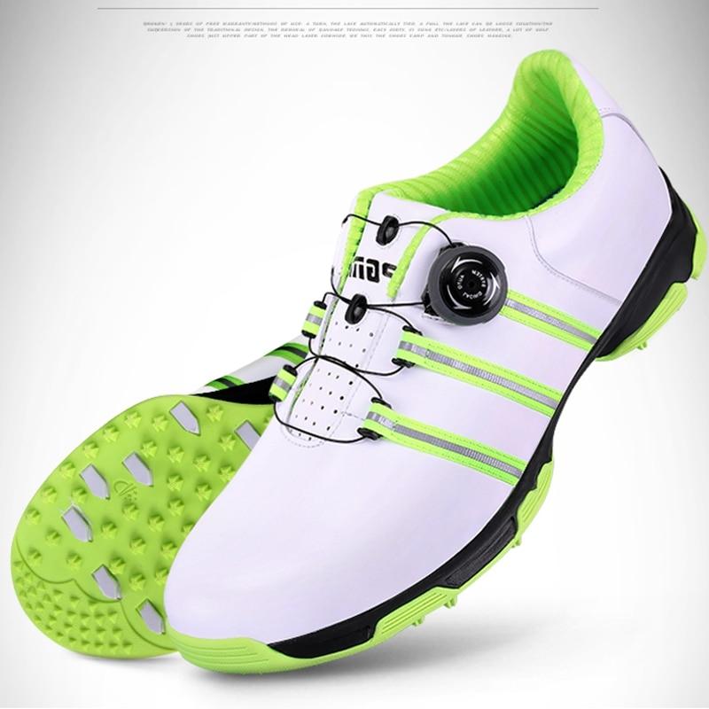 купить Brand PGM Genuine Leather Mens Waterproof Spiked Golf Sports Shoes Pro Tour Steady Spikes Sneakers Steady&Waterproof XZ060 по цене 4538.9 рублей