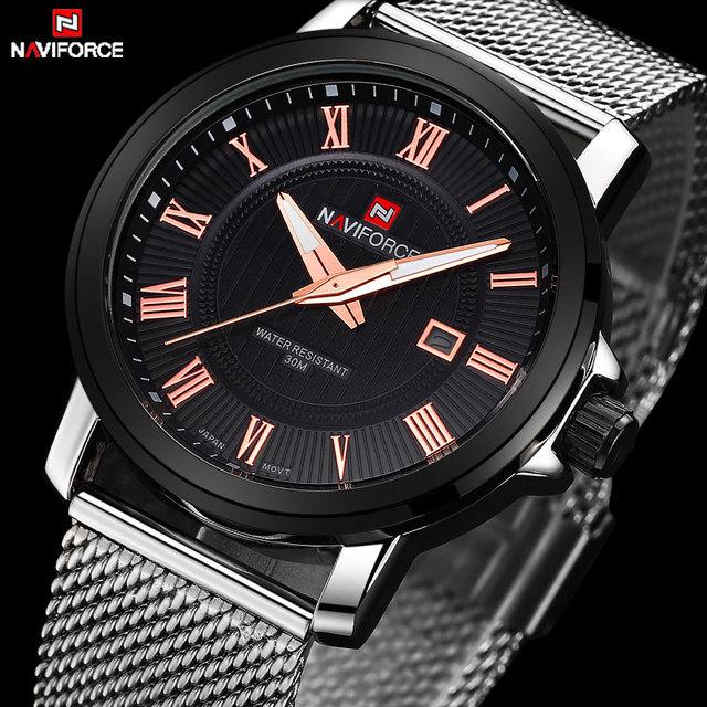 Naviforce marca de luxo relógio de quartzo dos homens casuais dos homens do esporte relógios de pulso cinta de aço inoxidável data banda de malha de prata à prova d' água