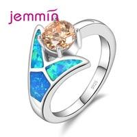Jemmin 2017 New Arrival Blue Fire Opal Jewellery Wedding Rings Wholesale 925 Sterling Silver Opal Ring For Women Charm Jewelry