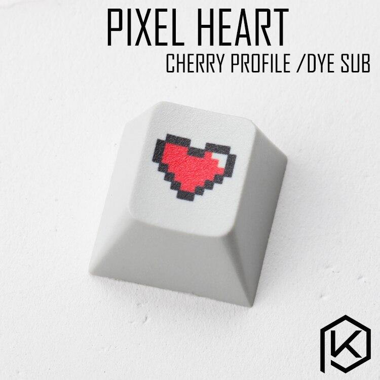 Novelty Cherry Profile Pbt Keycap For Mechanical Keyboards Dye Sub Legends Pixel Heart Black Red