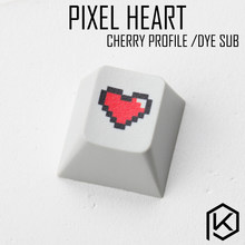 Novelty cherry profile pbt keycap for mechanical keyboards Dye Sub legends pixel heart black red(China)