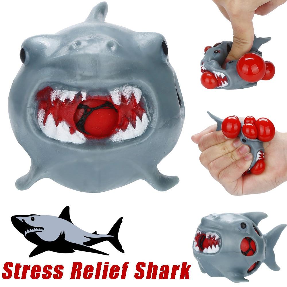 Funny Anti Stress Ball Toy Novetly Ball Stress Relief Shark Rubber Mesh Ball Squishy Grape Antistress Fun Kids Children Toys figurine