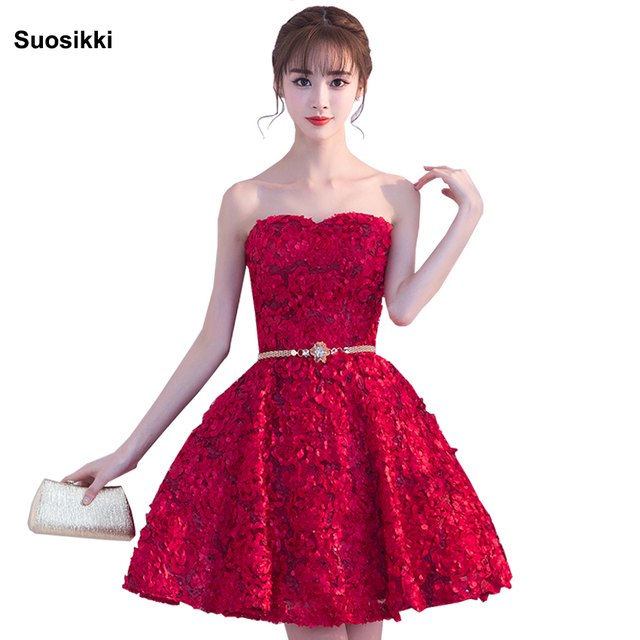 Suosikki A-Line Sweetheart Short Prom Dresses 2018 Sexy Backless Lace-Up Knee-Length Party Dresses Prom Gown Real Photos XYG702