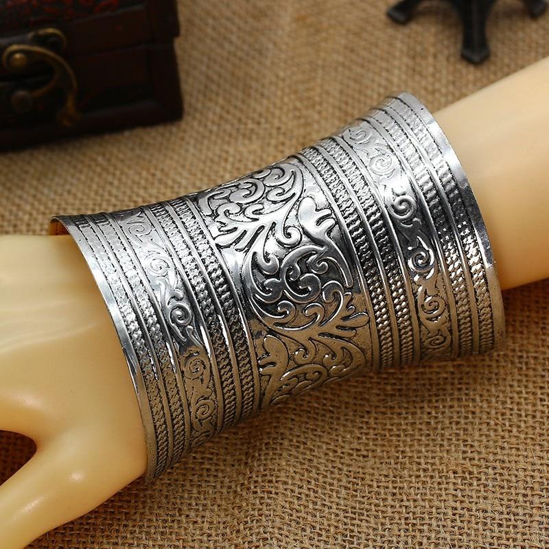 Inaugurado Cuff Bangle Boho Étnico Tribal boêmio Carving Flower Design Metal Grande Pulseira Larga