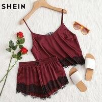 SHEIN Burgundy Applique Satin Cami Top And Shorts Pajama Set Fall Womens Spaghetti Strap Lace Sleepwear
