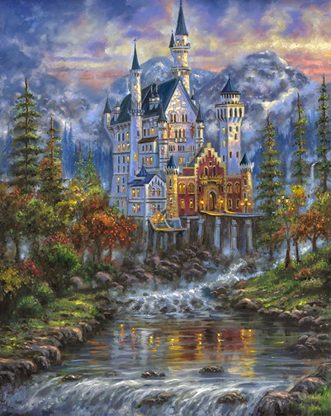 14CT Canvas Castle In The Woods Scenery Forest DMC Cross Stitch Kits Art Crafts Embroidery DIY Handmade Needle Work Home Decor