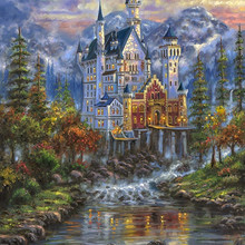 14CT Canvas Castle in the woods Scenery Forest Cross Stitch