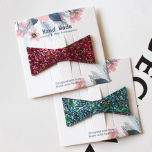 Resale 4cards/lot Cute Triangle Girls Hair Clip Squre Synthetic Glitter Felt Hairpins Kid Simple Clips Handmade Girl Winter
