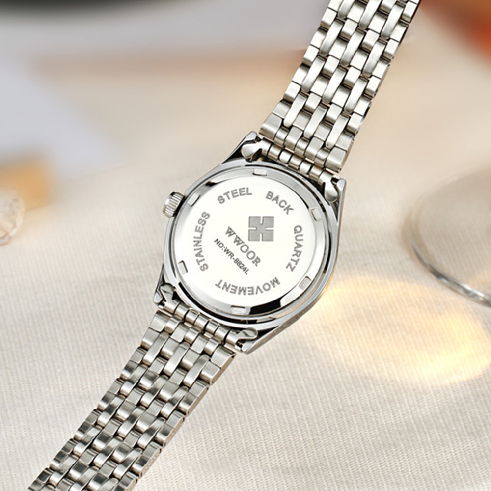 WWOOR Women Watch 50m Waterproof Date Clock Ladies Quartz Watches Sports Women 39 s Wrist Watch Silver Bracelet Montre Femme in Quartz Watches from Watches