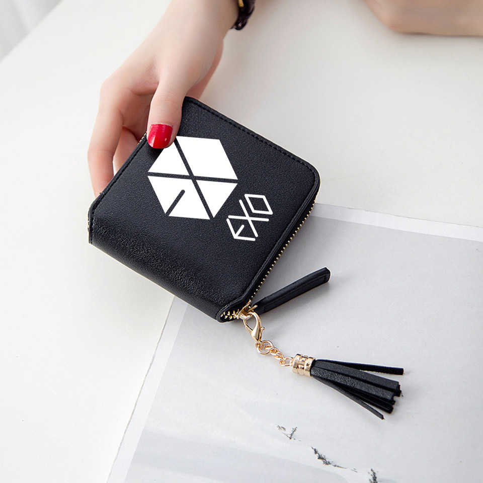 New Kpop EXO Wallets New Koran 3D Print Women Wallets Short Zipper Card Tassel Wallet Lady Purses Mini Fashion Kpop Fans Bags