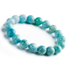 Genuine Natural Blue Larimar Gemstone Round 9mm Beads Stretch Bracelet From Dominica AAAAAA цена в Москве и Питере