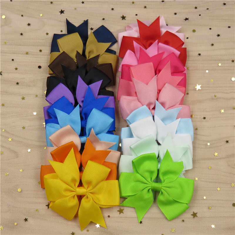 3 Inch Solid Boutique Grosgrain Ribbon Girl Bow Elastic Hair Tie Rope Hair Band Bows DIY Hair Accessories Best Holiday Gift 2017