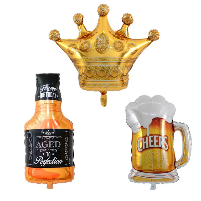 5b537dc61f US $0.98 20% OFF|1pc Large Gold Crown Whiskey Bottle Beer Cup Foil Balloon  Bar Happy Birthday Wedding Celebration Party Decoration Air Balloons-in ...