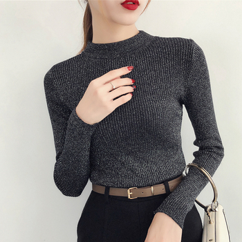 shintimes Long Sleeve Sweater Women Shiny Autumn Winter Pullover Korean Style Knitted Turtleneck Woman Basic Sweaters 2019 Femme shuchan winter 100 shmere sweater women long sleeve knitted pullover turtleneck striped sweaters women tops femme korean style
