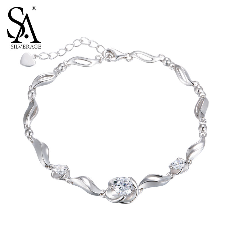 SA SILVERAGE Bracelet Argent 925 For Women Wave Bracelets Bangles 925 Sterling Silver Jewelry Women Accessory Party Gift 2018