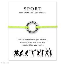 "12 PCS New arrvial Silver Round ""Gymnastics"" Alloy Charm Bracelets & Bangles Wish Wax Rope Bracelet Jewelry with Card"