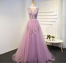IBayU Pink Evening Dress Sweet Lace Flower Beading Formal Dresses With Train Bride Married Banquet Elegant Prom Dress Purple