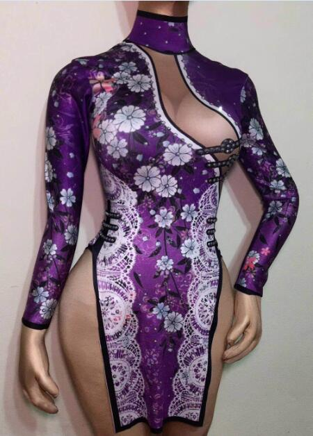 Chinese Flowers Printed Stones Short Style 4 Colors Dress Nightclub Female Singer Women's Party Show Sexy Stretch Cheongsam Wear