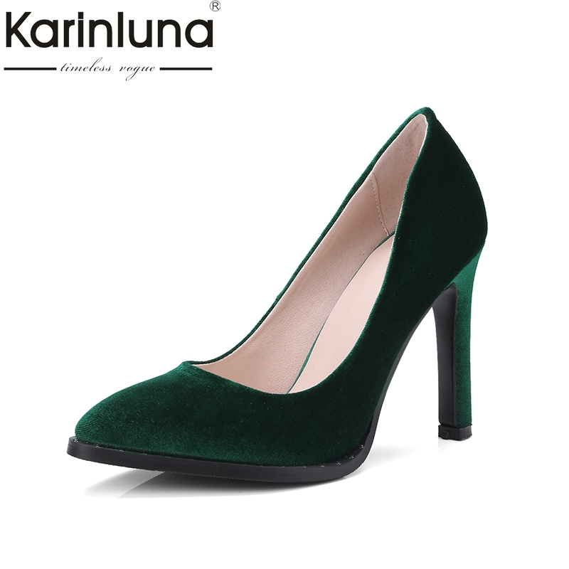 Karinluna Top Quality Big Size 34-43 Velvet Thin High Heels Spring Shoes Women Pumps Sexy Pointed Toe Party Wedding Shoes Woman new sexy thin high heels shoes women pumps 2018 spring round toe platform single shoes women wedding party big size 34 45 27 5cm