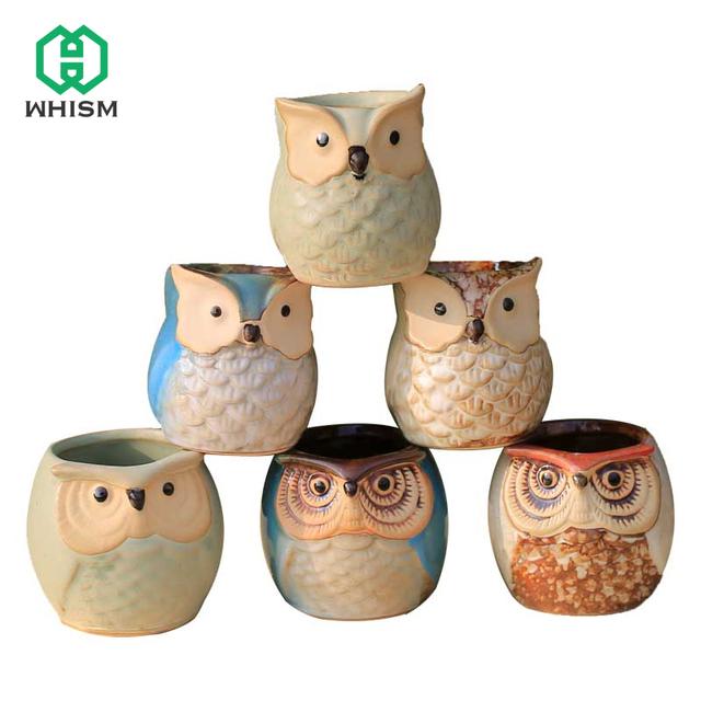 Cute Mini Ceramic Decorative Owl Flower Pots Planters Retro Creative Succulents Nursery Floral Holder Organizer Garden Supplies