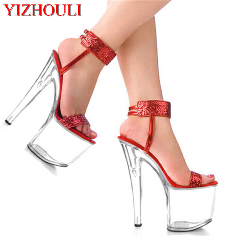 2018 Women's Shoes 8 Inch Glitter Paillette Wedding Shoes Crystal 20cm Shoes Sexy Party High Heels Sandals sexy 20cm ultra high heels crystal sandals colorful glitter platform the bride wedding shoes 8 inch women s shoes