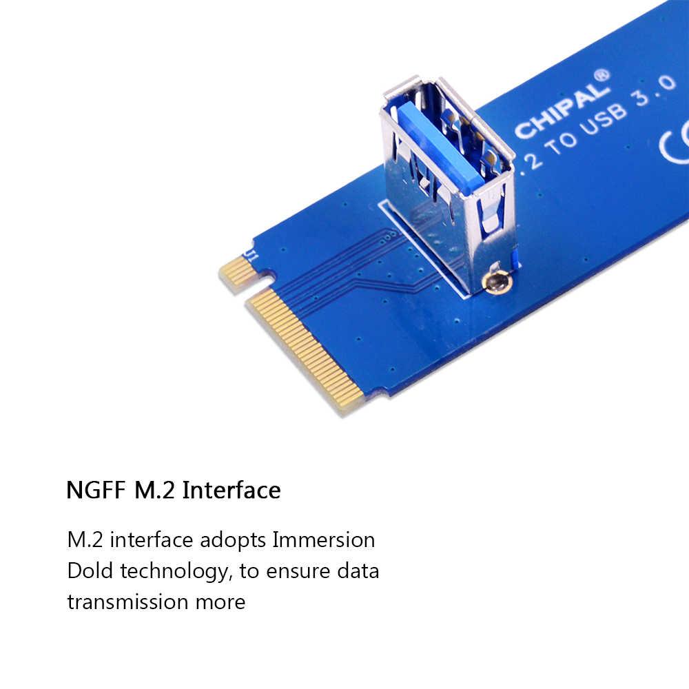 Adaptador de tarjeta de transferencia CHIPAL NGFF M2 a USB 3,0 adaptador de llave M2 M para PCI-E 1x a 16x tarjeta de aumento para minero BTC