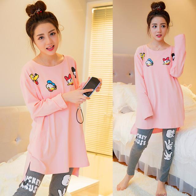 Novo 2016 outono de algodão mulheres pijamas conjuntos de pijama mulher Dos Desenhos Animados manga comprida pijamas Linda Casa roupas pijamas para as mulheres
