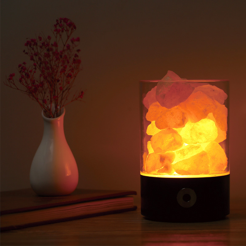 Colorful Himalayan Salt Lamp USB LED Night Light Crystal Salt Rock Bedside Night Lamp For Children Kid's birthday christmas gift oygroup mini hand carved natural crystal himalayan salt lamp night light cylinder shaped illumilite lamp salt light oy17nl02
