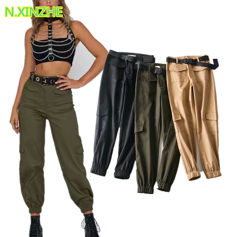 2018 women clothing high waist pockets solid relaxed cargo   pants   Female fashion casual loose straight cotton   capris   trousers