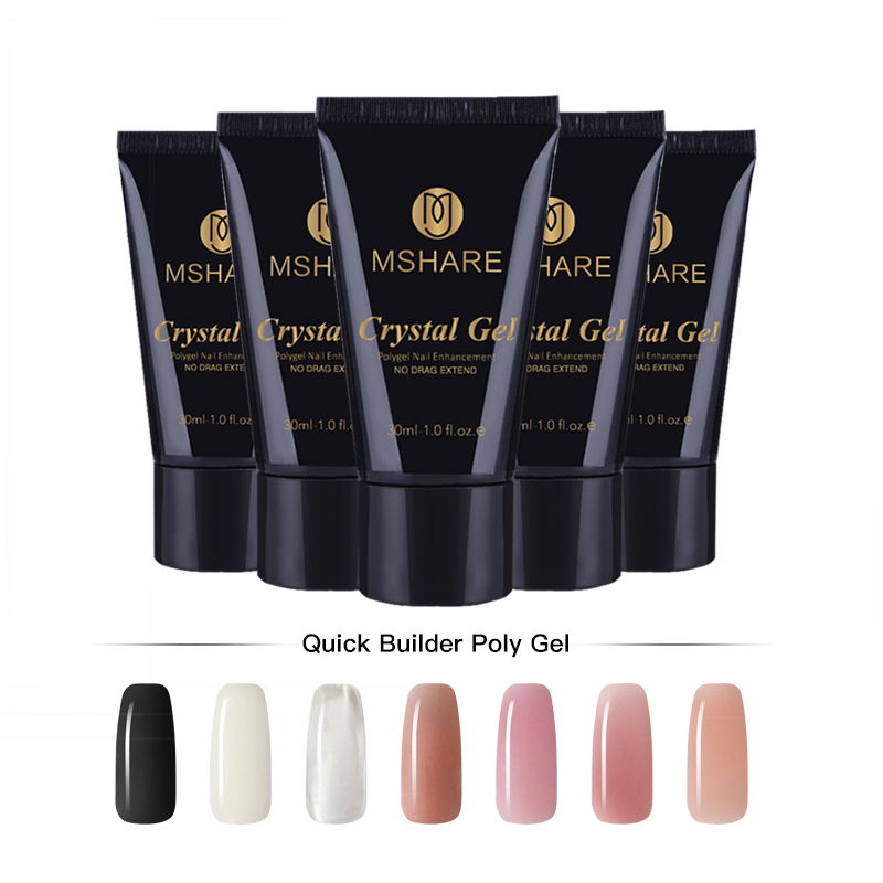 MSHARE Crystal Gel Nail Extension Builder Led Gel  Jelly Acrylic Builder Poly Gel Extend UV Lacquer 30g