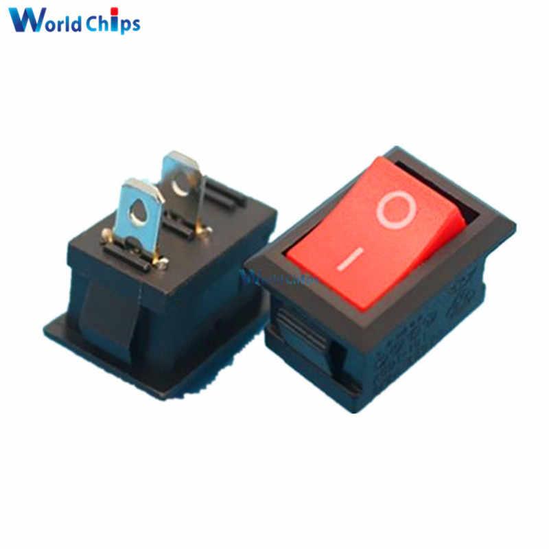 5 uds KCD1-101 AC 6A 250V 2 Pin/ME/SPST Snap en Mini botón rojo barco interruptor basculante 15*21MM