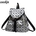 Mulheres mochila feminina geométrica patchwork sequin xadrez saco de cordão mochila bagpack mochilas para meninas adolescentes do sexo feminino