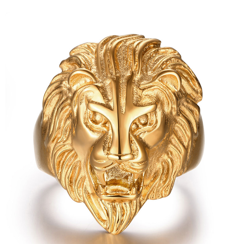 Stainless Steel Gold Lion Punk Ring Men Big Size Rings Retro Vintage Biker Large Antique Men's Rings For Seal Rock mens Jewelry цена
