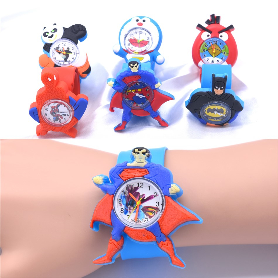Kids Silicone Quartz Watch Strap Bracelet Cartoon Hero Design Header Wrist Watches For Children Gift