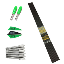 Archery SP 500-800 Carbon Arrows Shaft Vanes Points Pin Nock Recurve Bow LongBow Hunting Shooting 12Set