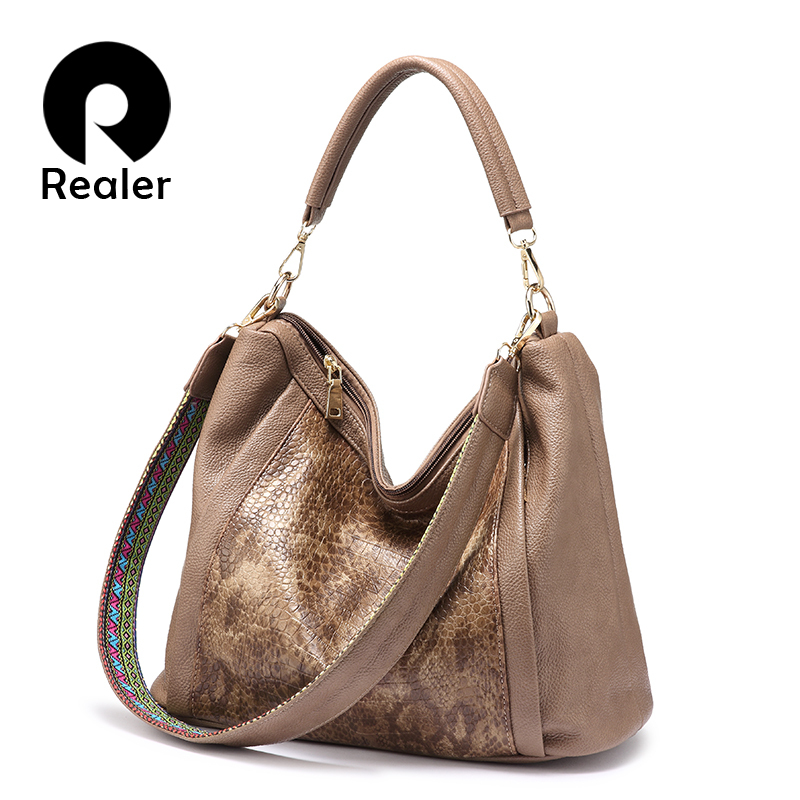 REALER designer handbags high quality shoulder bags women soft artificial leather large tote bags ladies hobo