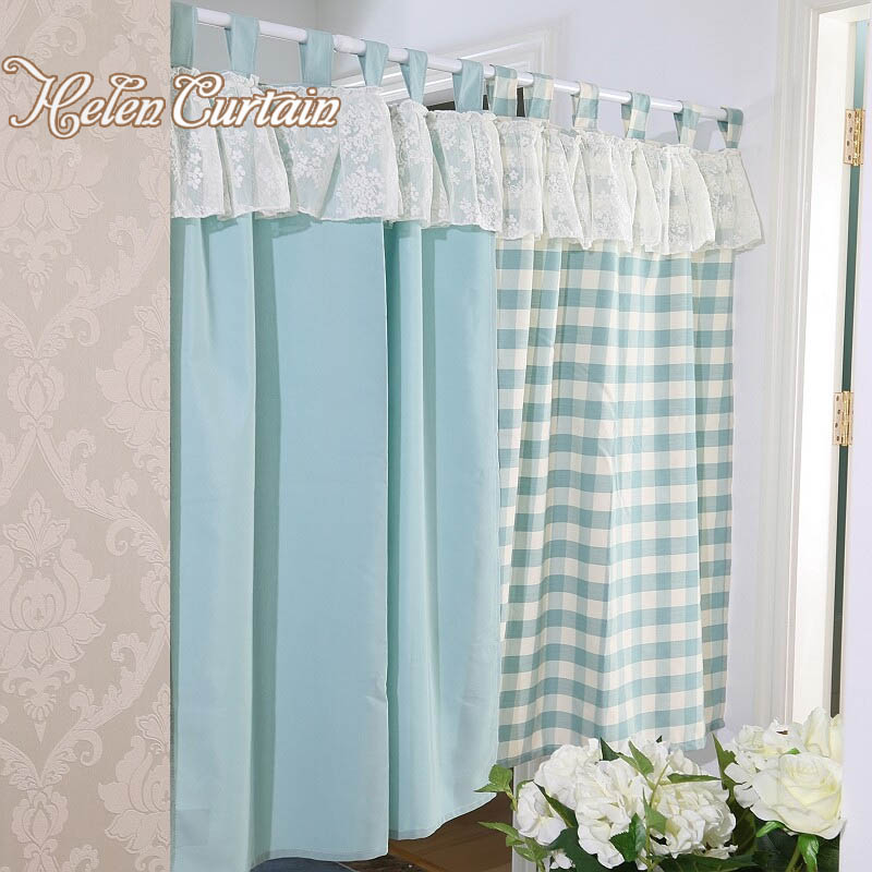 Helen Curtain Set Japanese Style Plaid Short Lace Kitchen