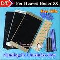 """Alta Qualidade da Tela de Toque Do Painel de Toque Digitador + Display LCD Para Huawei Honor 5X Jogar 5X5.5 """"celular Preto Cor de Ouro Branco"""