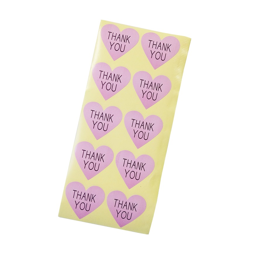 100pcs/lot Thank you Romatic pink Heart Paper Sticker for Handmade Products package label