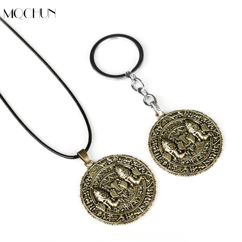 MQCHUN Game Necklace Uncharted The Lost Legacy Antique Coin Metal Pendant Rope Chain Necklaces Charm Gifts For Men Women
