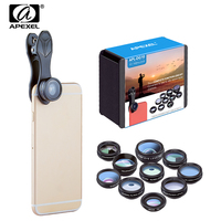 APEXEL 10in1 Phone Camera Lens Kit Fish Eye Wide Angle Macro 2X Telescope Lentes For Iphone