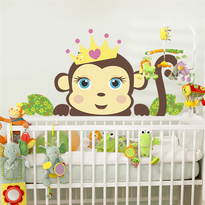 lovely monkeys wall stickers decals children animals plants ...