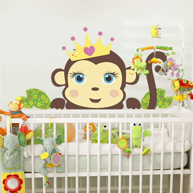 Us 1 54 9 Off Jungle Wild Monkeys Wall Stickers For Kids Rooms Children Decals Home Decor Nursery Room Gift In
